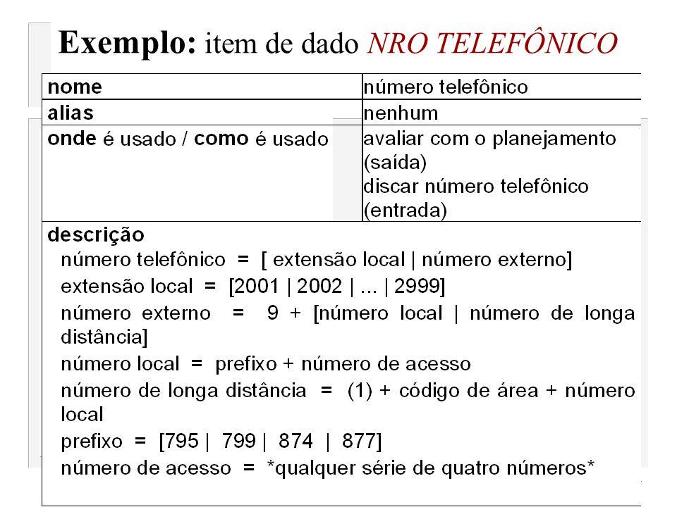 Exemplo: item de dado NRO TELEFÔNICO