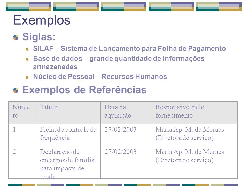 Exemplos Siglas: Exemplos de Referências