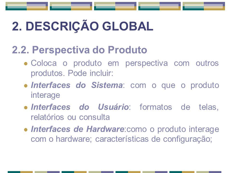 2. DESCRIÇÃO GLOBAL 2.2. Perspectiva do Produto