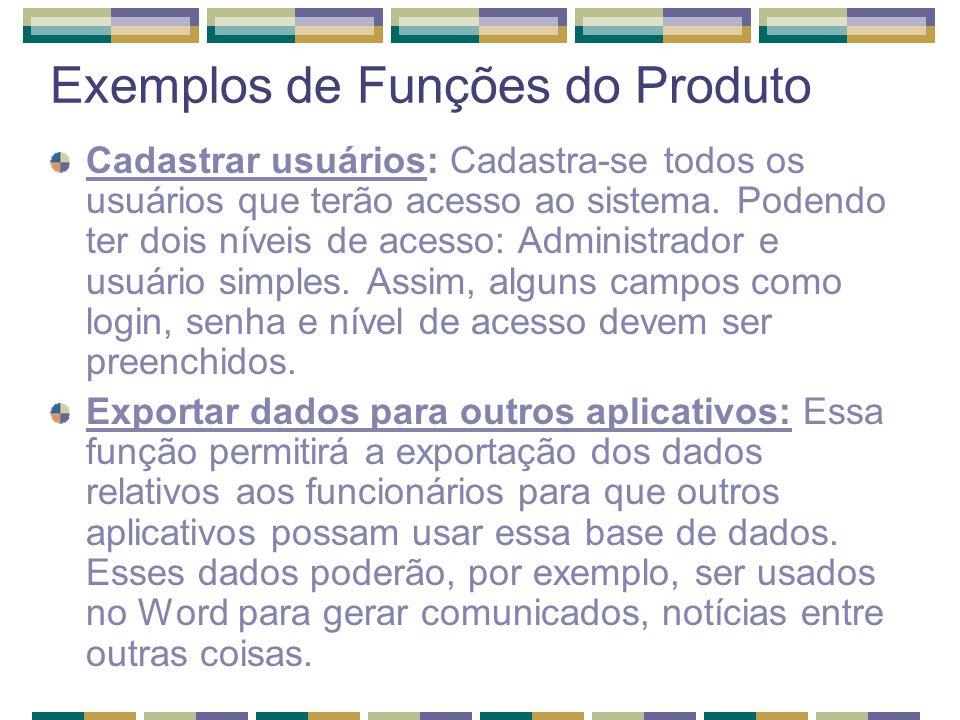 Exemplos de Funções do Produto