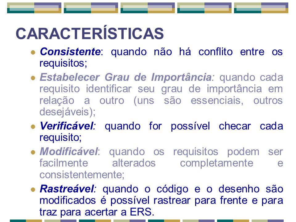 CARACTERÍSTICAS Consistente: quando não há conflito entre os requisitos;