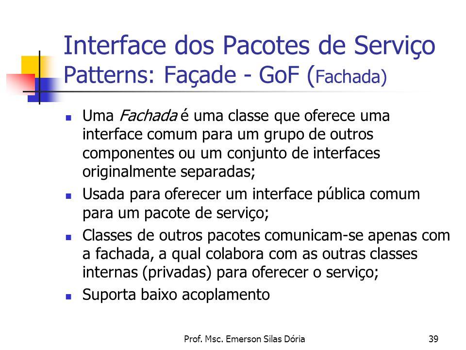 Interface dos Pacotes de Serviço Patterns: Façade - GoF (Fachada)