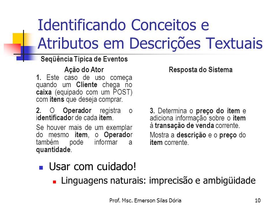 Identificando Conceitos e Atributos em Descrições Textuais