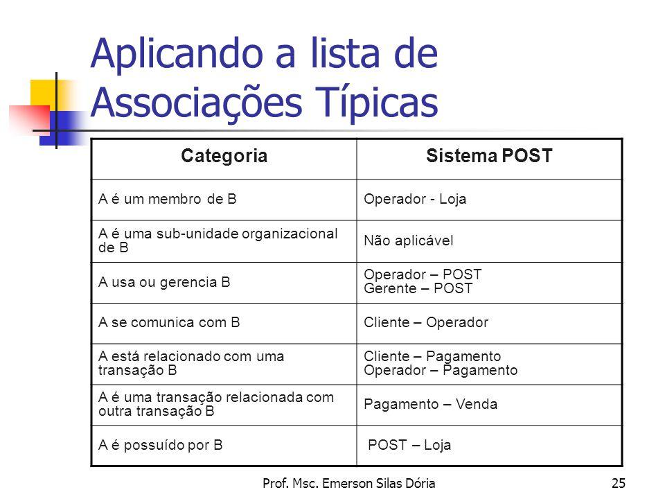 Aplicando a lista de Associações Típicas