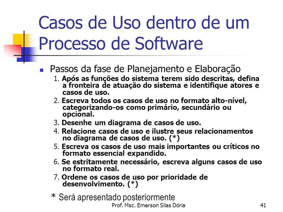 Casos de Uso dentro de um Processo de Software