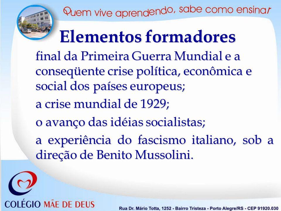 Elementos formadores final da Primeira Guerra Mundial e a conseqüente crise política, econômica e social dos países europeus;