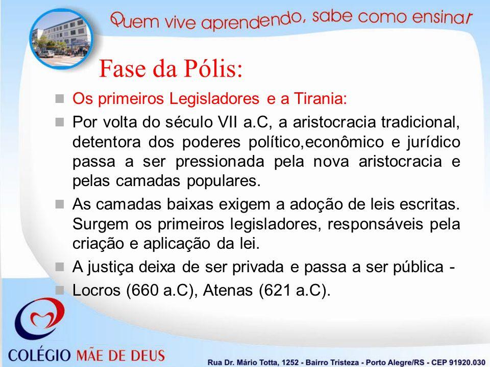 Fase da Pólis: Os primeiros Legisladores e a Tirania: