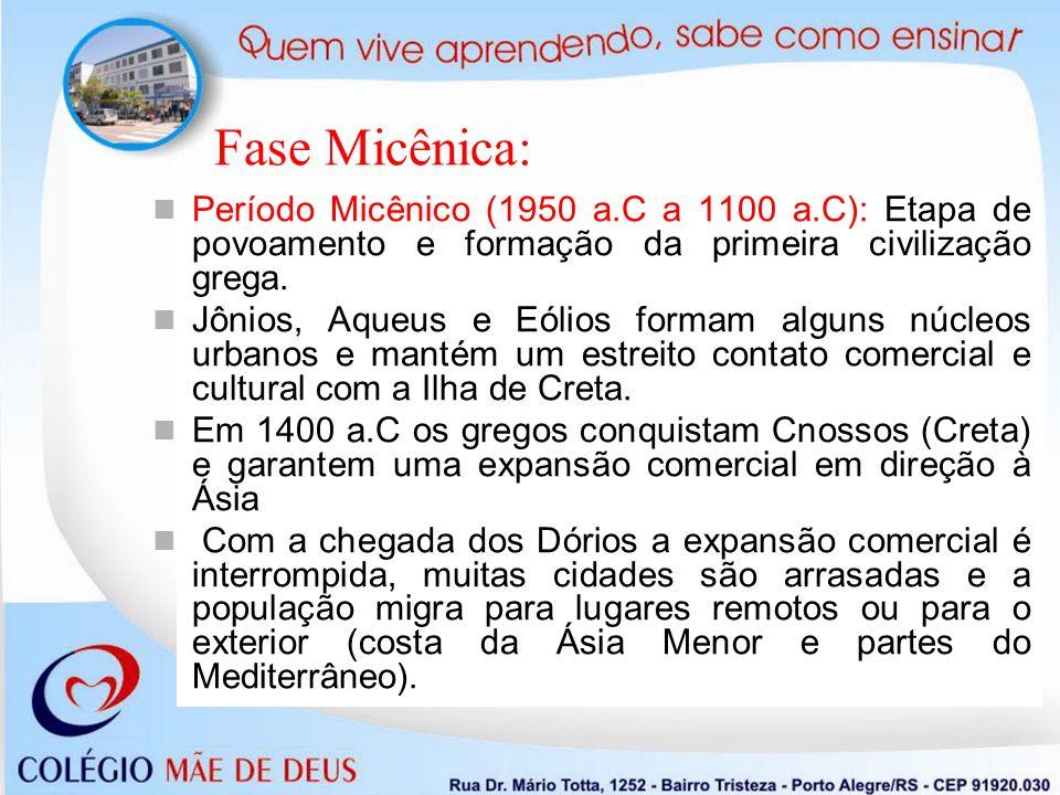 Fase Micênica: Período Micênico (1950 a.C a 1100 a.C): Etapa de povoamento e formação da primeira civilização grega.