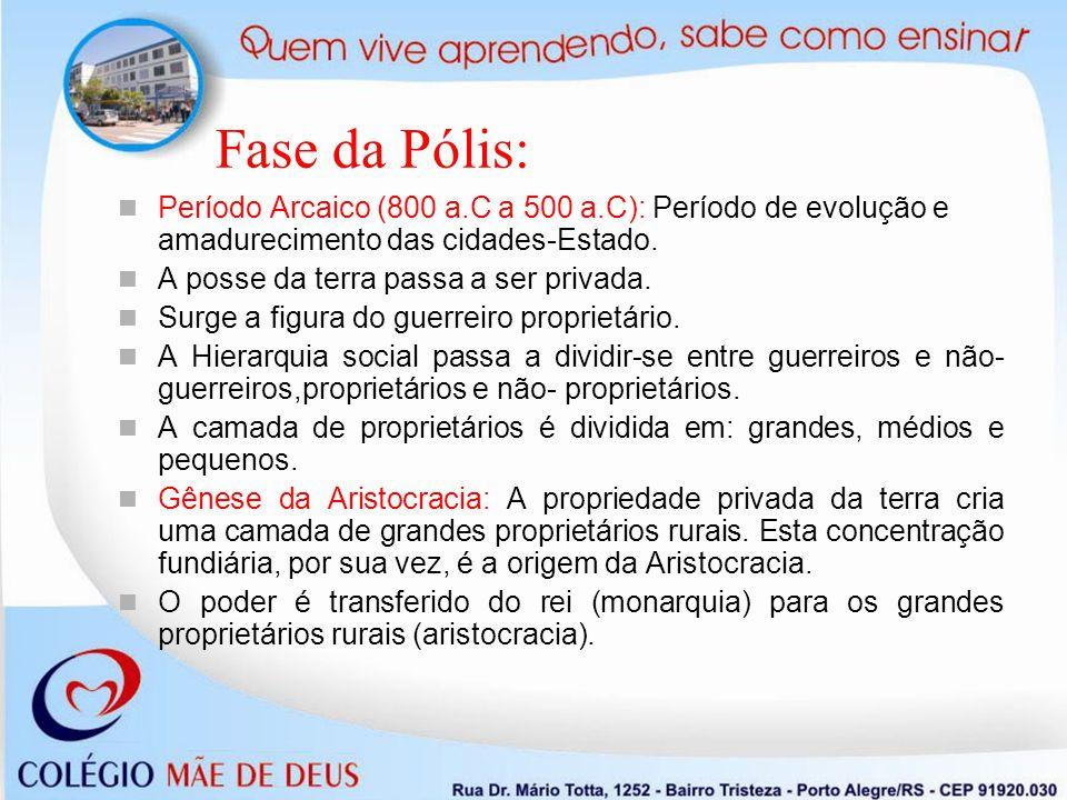 Fase da Pólis: Período Arcaico (800 a.C a 500 a.C): Período de evolução e amadurecimento das cidades-Estado.