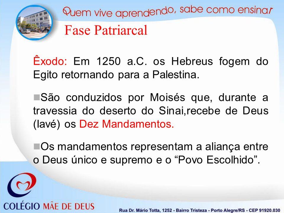 Fase Patriarcal Êxodo: Em 1250 a.C. os Hebreus fogem do Egito retornando para a Palestina.
