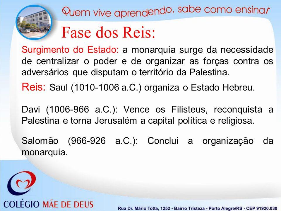 Fase dos Reis: Reis: Saul (1010-1006 a.C.) organiza o Estado Hebreu.