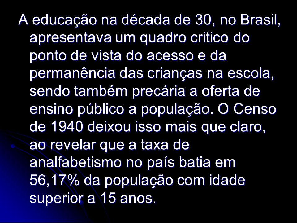 A educação na década de 30, no Brasil, apresentava um quadro critico do ponto de vista do acesso e da permanência das crianças na escola, sendo também precária a oferta de ensino público a população.