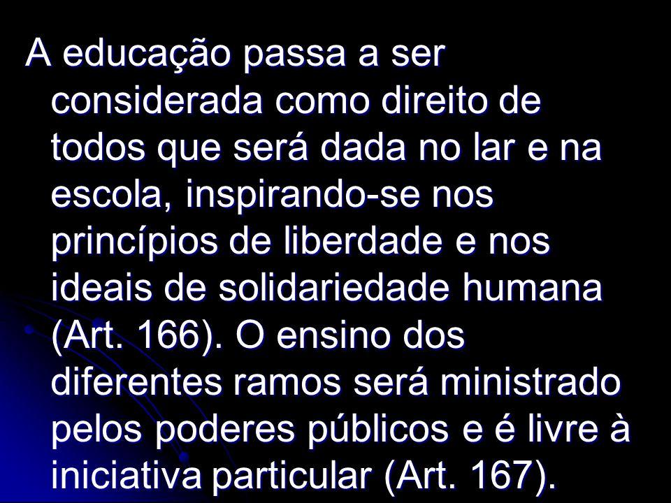 A educação passa a ser considerada como direito de todos que será dada no lar e na escola, inspirando-se nos princípios de liberdade e nos ideais de solidariedade humana (Art.