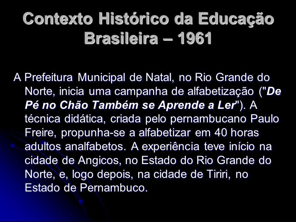 Contexto Histórico da Educação Brasileira – 1961