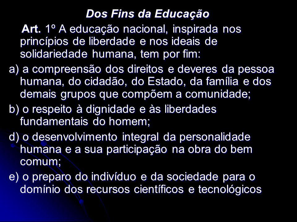 Dos Fins da Educação Art. 1º A educação nacional, inspirada nos princípios de liberdade e nos ideais de solidariedade humana, tem por fim: