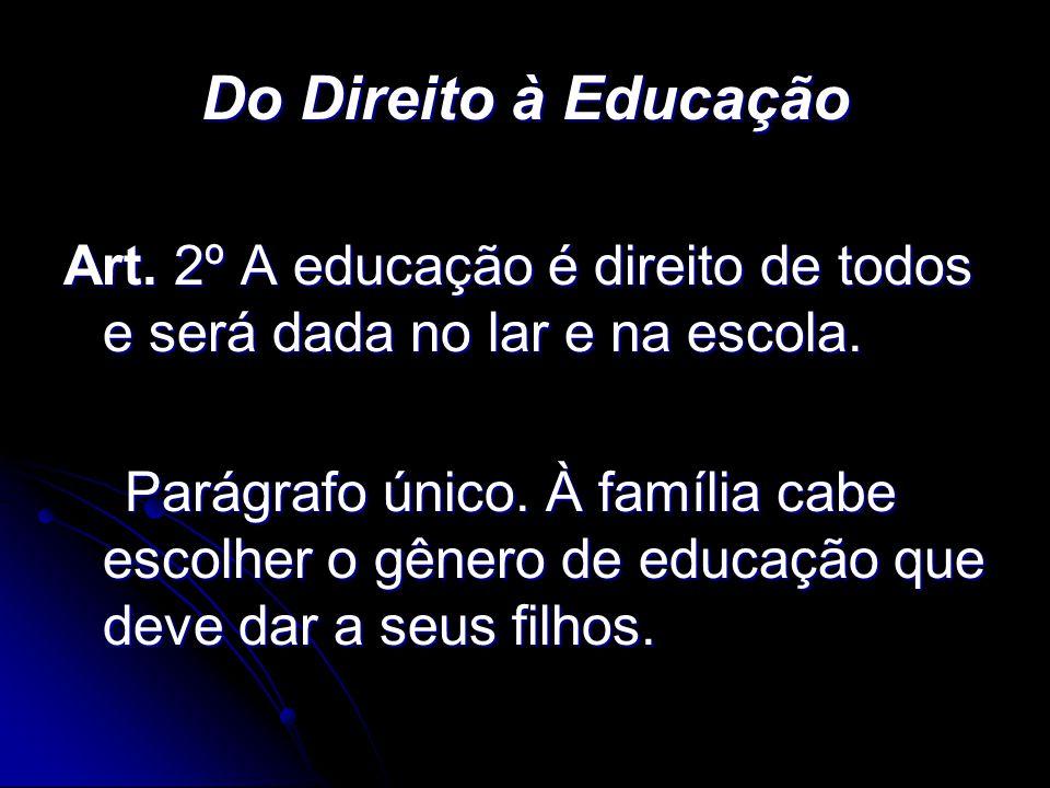 Do Direito à Educação Art. 2º A educação é direito de todos e será dada no lar e na escola.