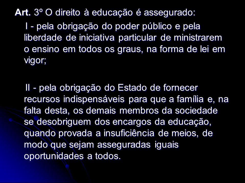 Art. 3º O direito à educação é assegurado:
