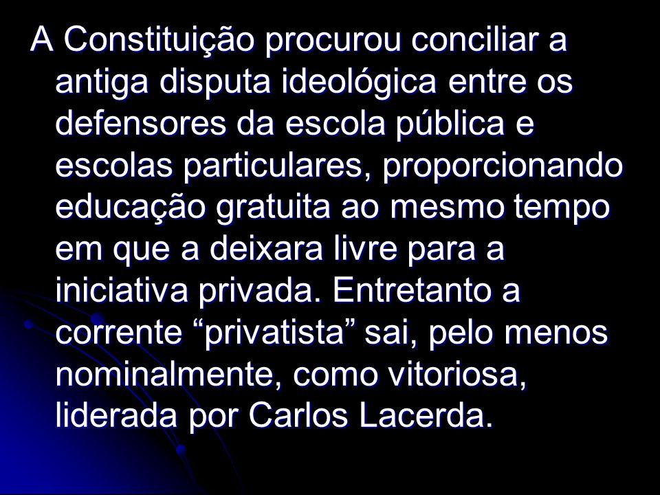 A Constituição procurou conciliar a antiga disputa ideológica entre os defensores da escola pública e escolas particulares, proporcionando educação gratuita ao mesmo tempo em que a deixara livre para a iniciativa privada.