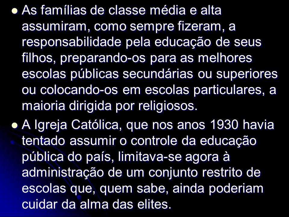 As famílias de classe média e alta assumiram, como sempre fizeram, a responsabilidade pela educação de seus filhos, preparando-os para as melhores escolas públicas secundárias ou superiores ou colocando-os em escolas particulares, a maioria dirigida por religiosos.
