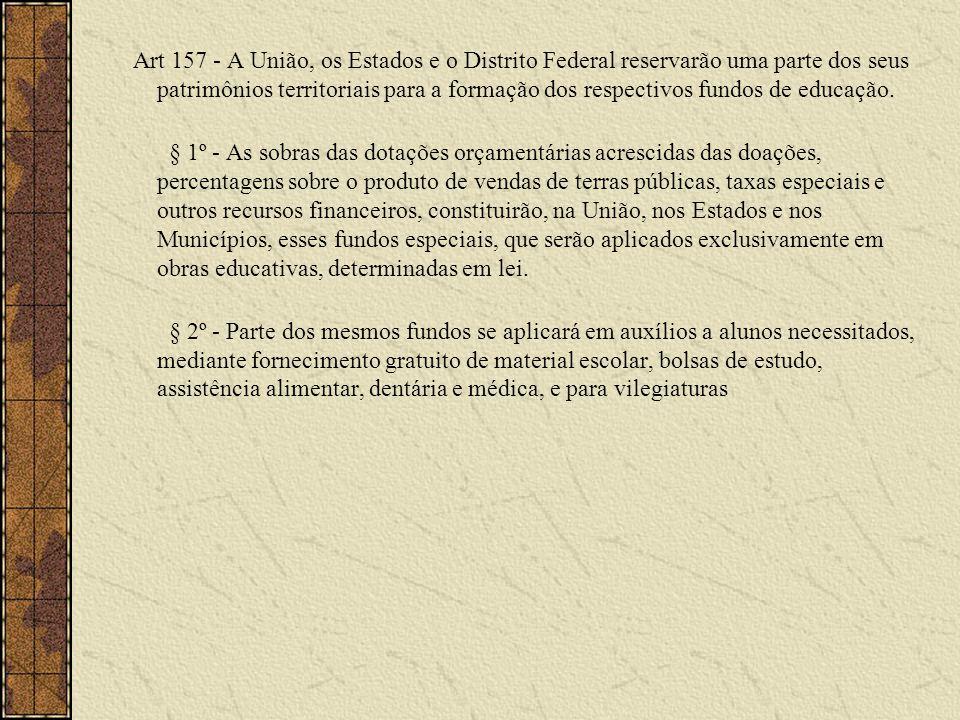 Art 157 - A União, os Estados e o Distrito Federal reservarão uma parte dos seus patrimônios territoriais para a formação dos respectivos fundos de educação.