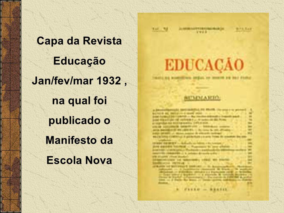 Capa da Revista Educação Jan/fev/mar 1932 , na qual foi publicado o Manifesto da Escola Nova
