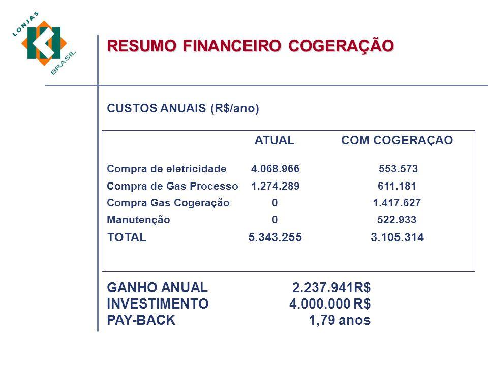 RESUMO FINANCEIRO COGERAÇÃO