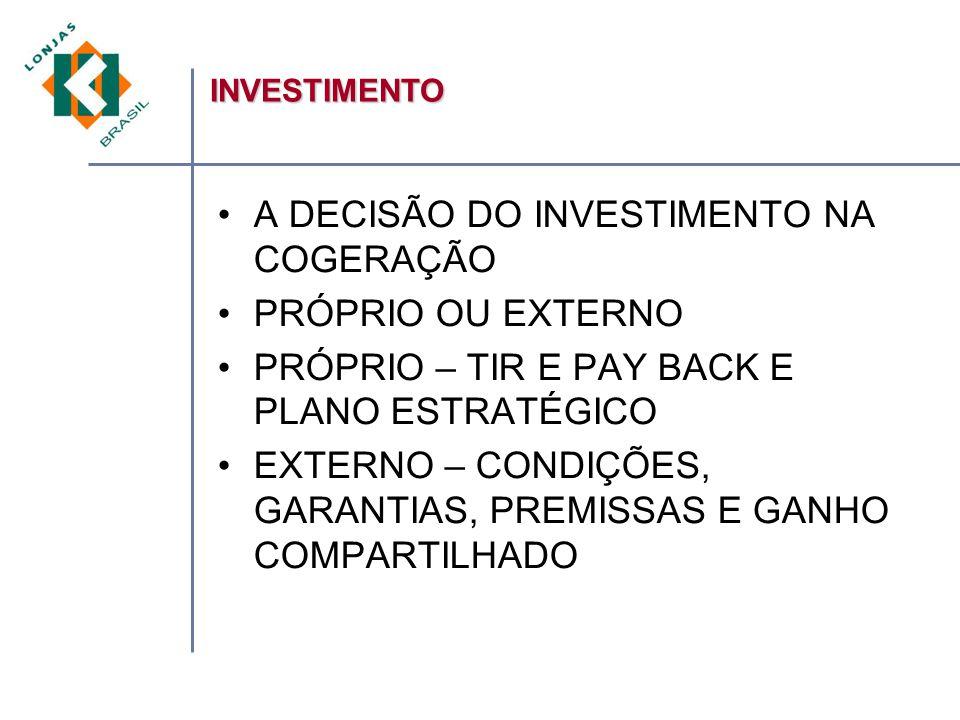 A DECISÃO DO INVESTIMENTO NA COGERAÇÃO PRÓPRIO OU EXTERNO