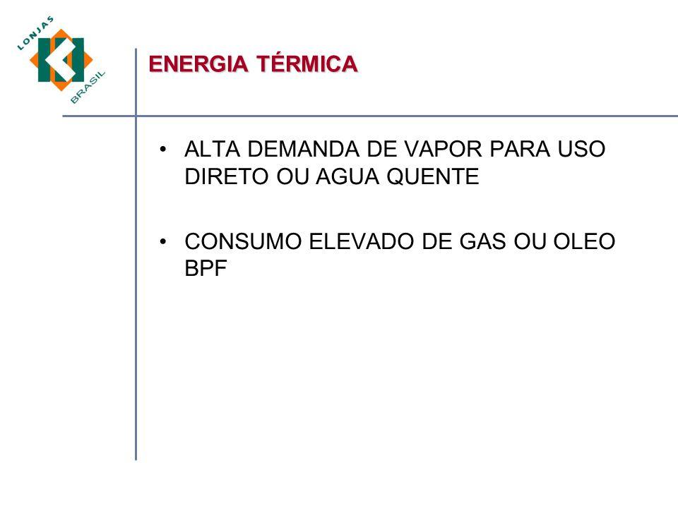 ENERGIA TÉRMICA ALTA DEMANDA DE VAPOR PARA USO DIRETO OU AGUA QUENTE.