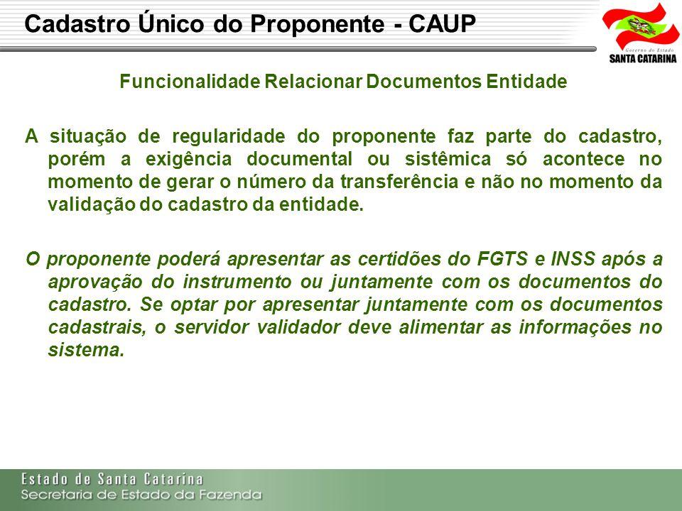 Funcionalidade Relacionar Documentos Entidade