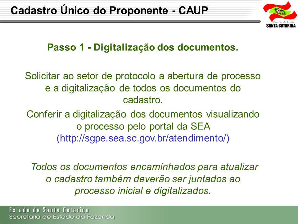 Passo 1 - Digitalização dos documentos.