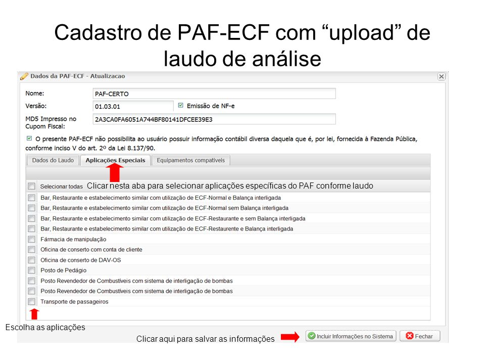 Cadastro de PAF-ECF com upload de laudo de análise