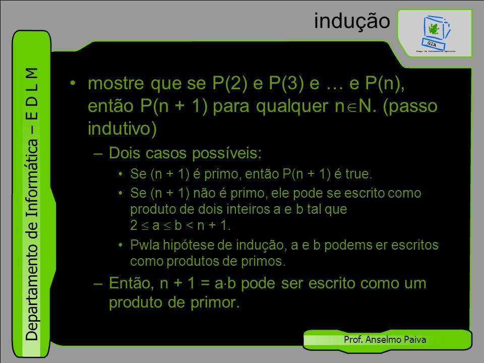 indução mostre que se P(2) e P(3) e … e P(n), então P(n + 1) para qualquer nN. (passo indutivo) Dois casos possíveis: