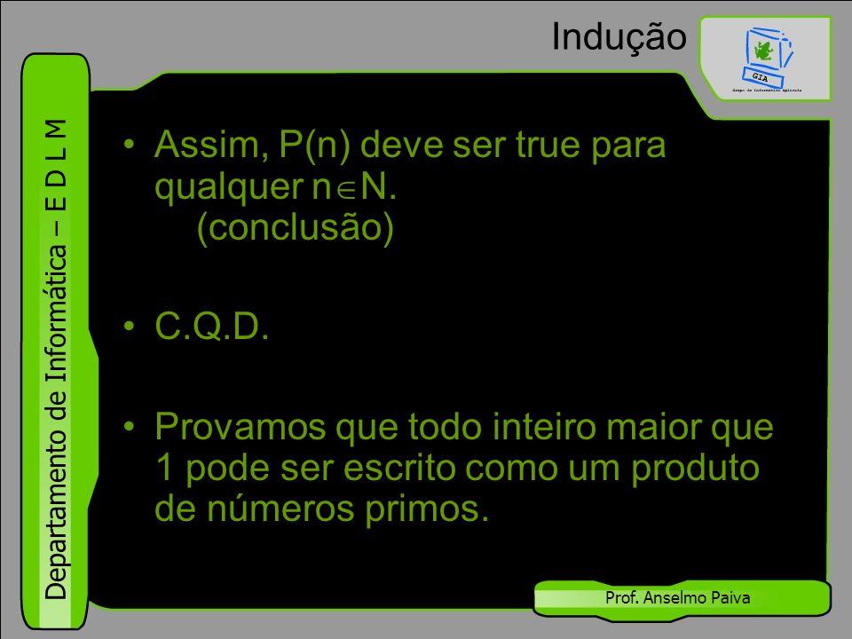 Assim, P(n) deve ser true para qualquer nN. (conclusão)