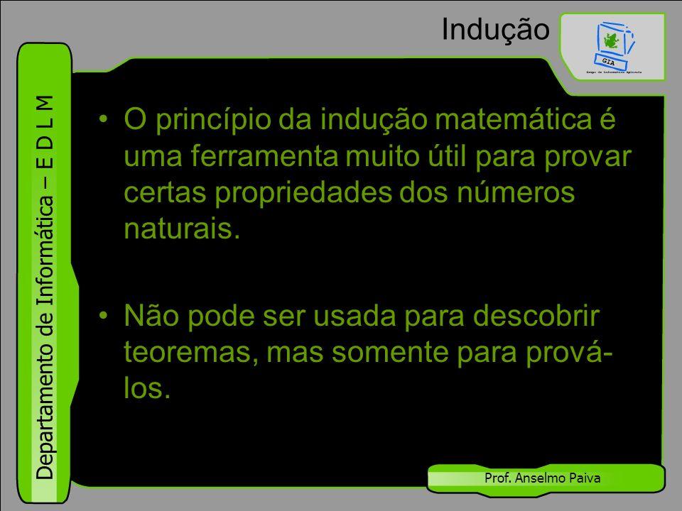Indução O princípio da indução matemática é uma ferramenta muito útil para provar certas propriedades dos números naturais.
