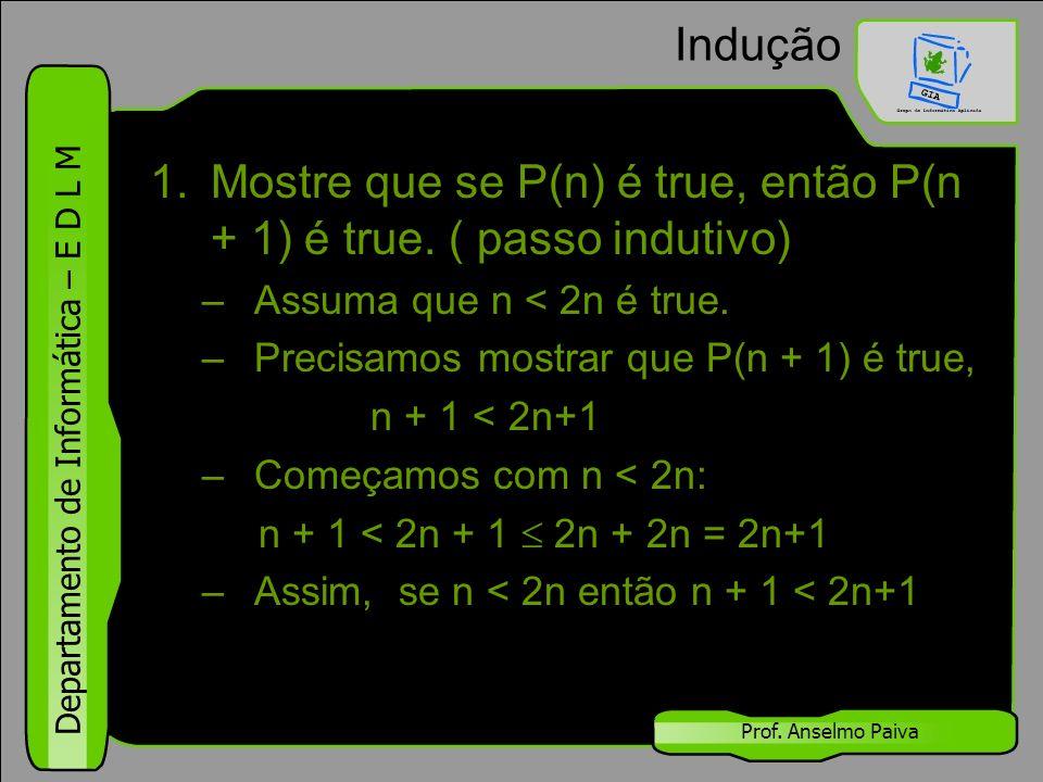 Mostre que se P(n) é true, então P(n + 1) é true. ( passo indutivo)
