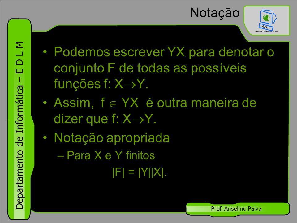 Assim, f  YX é outra maneira de dizer que f: XY. Notação apropriada