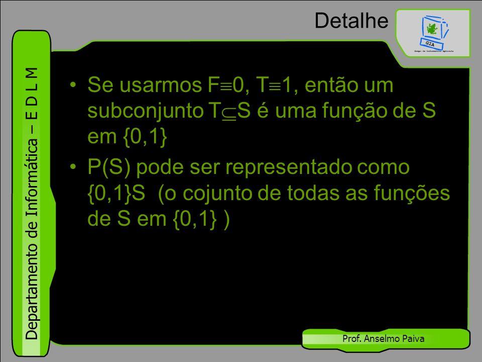 Detalhe Se usarmos F0, T1, então um subconjunto TS é uma função de S em {0,1}