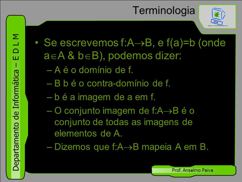 Se escrevemos f:AB, e f(a)=b (onde aA & bB), podemos dizer: