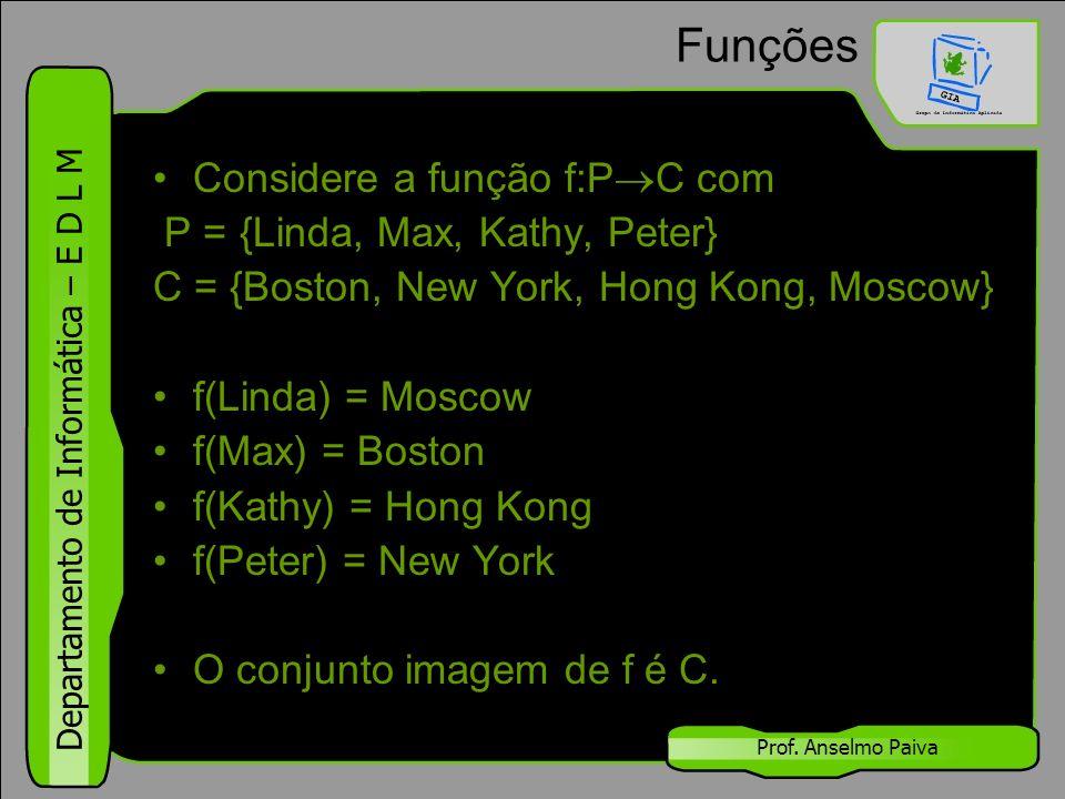 Funções Considere a função f:PC com P = {Linda, Max, Kathy, Peter}