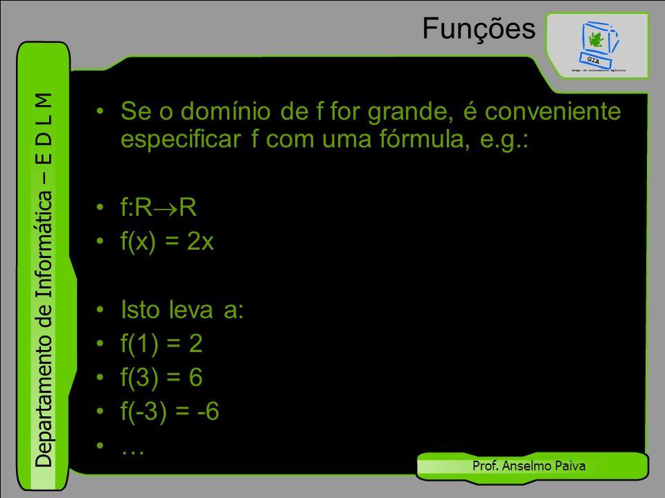 Funções Se o domínio de f for grande, é conveniente especificar f com uma fórmula, e.g.: f:RR. f(x) = 2x.