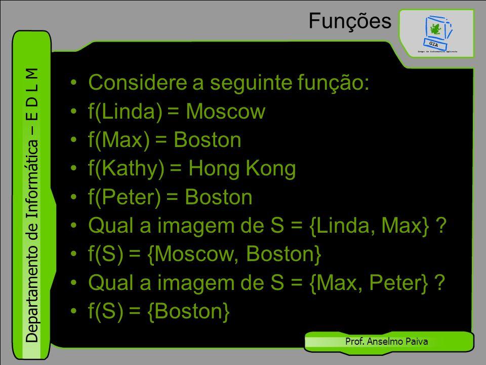 Considere a seguinte função: f(Linda) = Moscow f(Max) = Boston