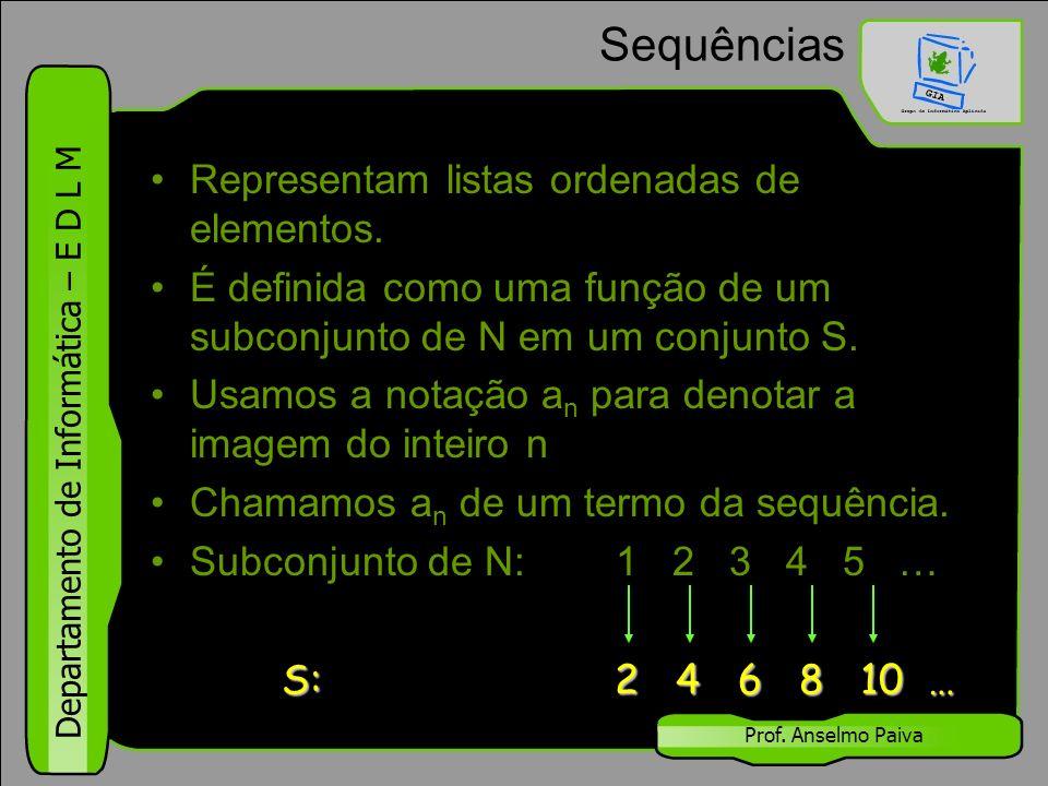 Sequências Representam listas ordenadas de elementos.