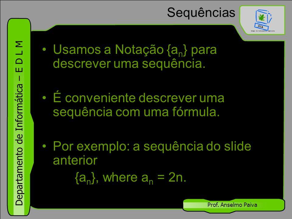 Usamos a Notação {an} para descrever uma sequência.
