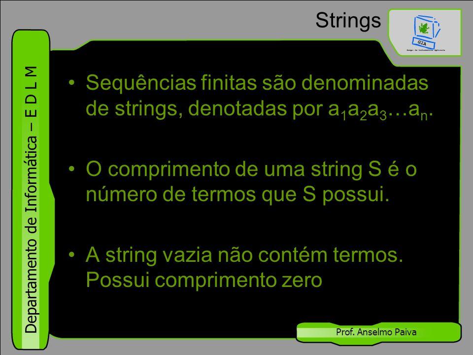 O comprimento de uma string S é o número de termos que S possui.