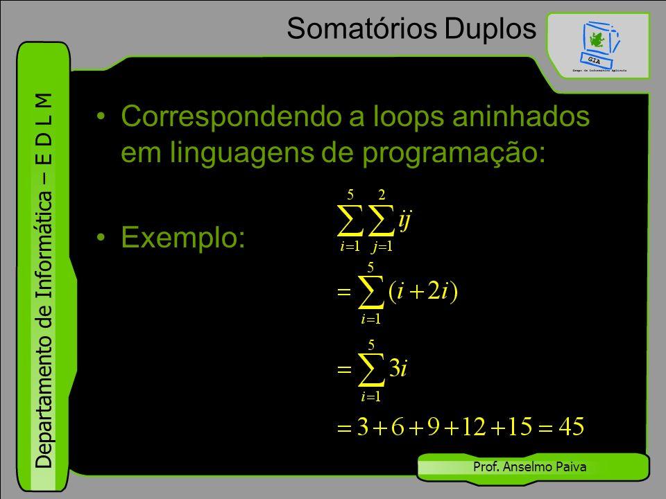 Correspondendo a loops aninhados em linguagens de programação: