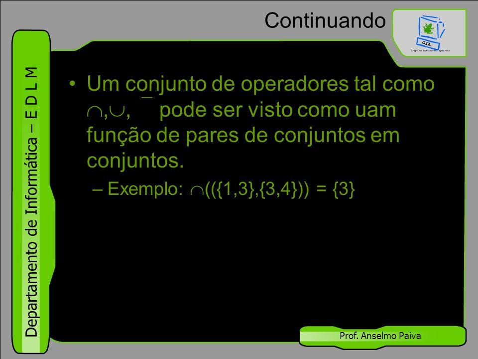Continuando Um conjunto de operadores tal como ,, pode ser visto como uam função de pares de conjuntos em conjuntos.