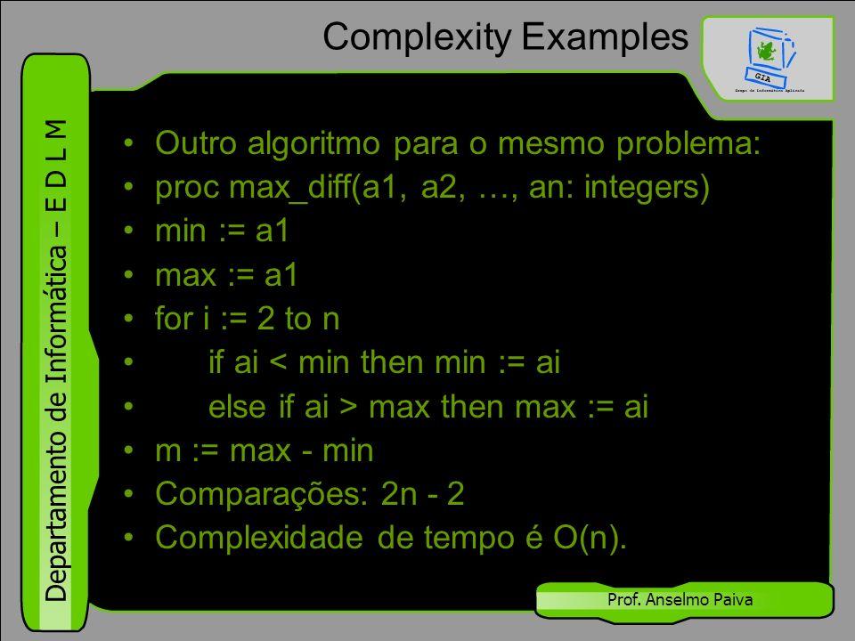 Complexity Examples Outro algoritmo para o mesmo problema: