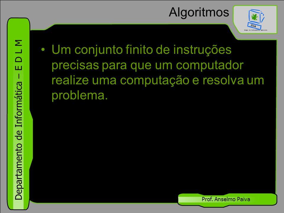 Algoritmos Um conjunto finito de instruções precisas para que um computador realize uma computação e resolva um problema.