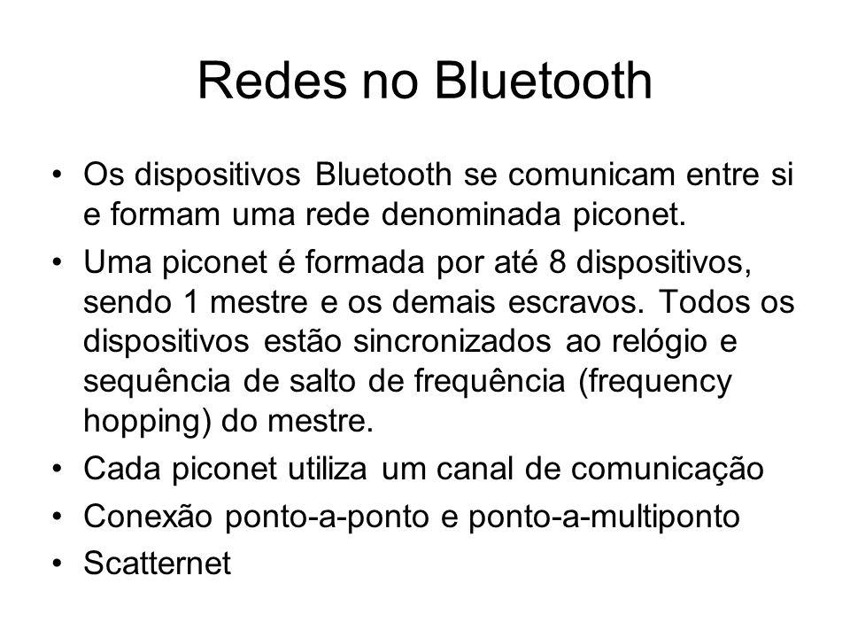 Redes no Bluetooth Os dispositivos Bluetooth se comunicam entre si e formam uma rede denominada piconet.