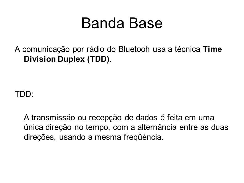 Banda Base A comunicação por rádio do Bluetooh usa a técnica Time Division Duplex (TDD). TDD: